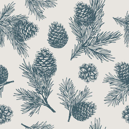 Ilustración de Pine cones seamless pattern. Christmas gift wrapping. - Imagen libre de derechos