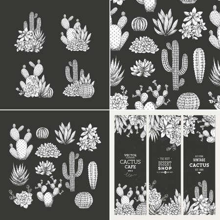 Illustration pour Cactus dark design kit. Sketchy style illustration. Banners, compositions, pattern. Succulent collection. - image libre de droit