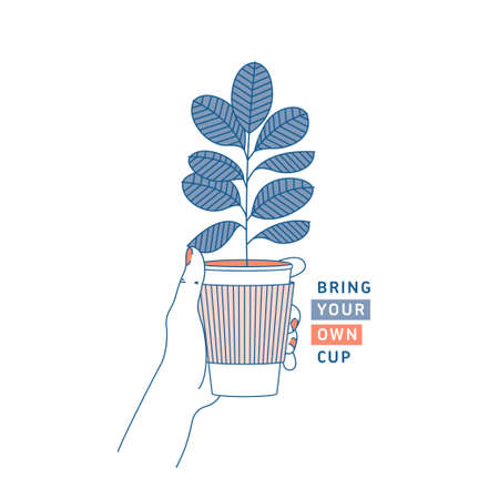 Illustration pour Woman hand holding coffee cup with rubber plant inside. Zero waste concept. Bring your own cup. Flat line style. Vector illustration - image libre de droit