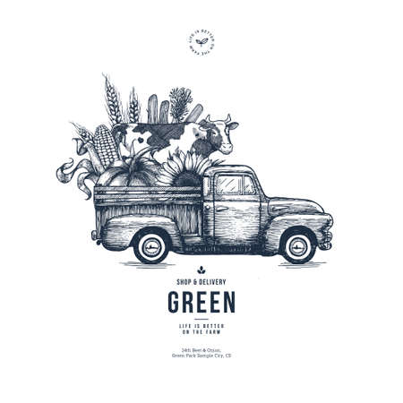 Illustration pour Farm fresh delivery design template. Classic vintage pickup truck with organic vegetables and a cow. Vector illustration - image libre de droit