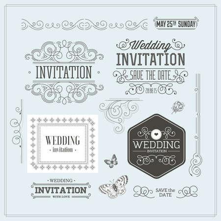 Photo pour Vintage Wedding invitation design kit. Elements, ornaments, badges. - image libre de droit