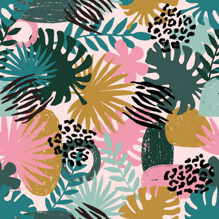 Illustration pour Seamless abstract exotic pattern. Jungle palm leaf. Wild nature. Vector illustration - image libre de droit