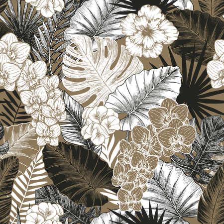Illustration pour Vintage Exotic flowers and leaves seamless pattern. Tropical style. Vector illustration - image libre de droit