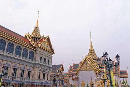 Foto für The Royal Pantheon in the historical Buddhist temple grounds of Wat Phra Kaew and the Grand Palace in central Bangkok Thailand - Lizenzfreies Bild