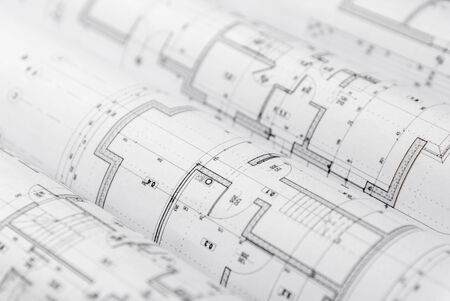 Photo pour Architect rolls and architectural plan,technical project drawing. - image libre de droit