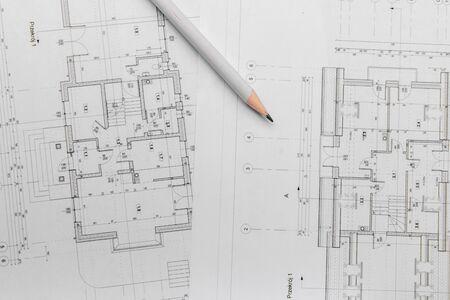 Foto de Architect rolls and architectural plan,technical project drawing. - Imagen libre de derechos