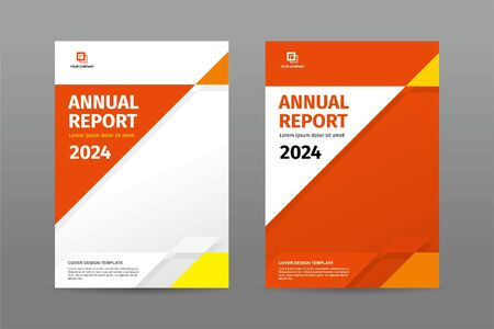 Illustration for Simple random triangle shape orange color theme annual report magazine template cover - Royalty Free Image