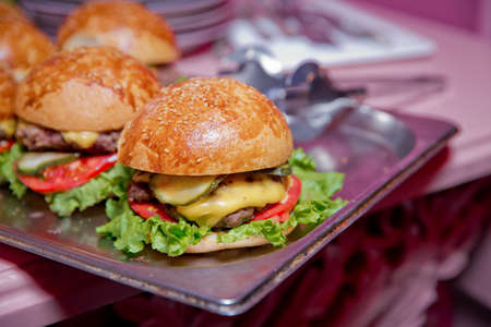 Photo pour Mini or Small Burger Canape in Luxury Restaurant for Brunch Time . Beautifully decorated catering banquet table with different hamburgers burgers sandwiches on a plate on corporate birthday - image libre de droit