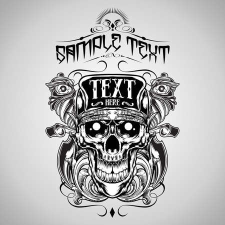 Vector Illustration : Skull T-shirt design logos
