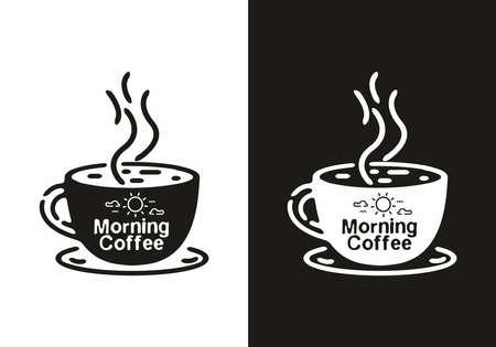 Illustration pour Black and white morning coffee line art illustration design - image libre de droit
