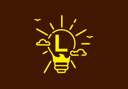 Illustration pour Yellow color of L initial letter in bulb shape with dark background design - image libre de droit