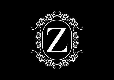 Illustration pour Black initial Z letter in classic frame design - image libre de droit