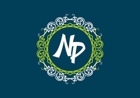 Illustration for NP initial letter in vintage circle frame design - Royalty Free Image