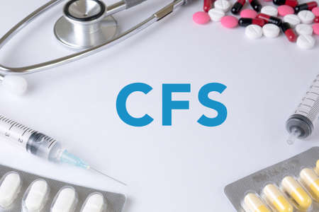 CFS CONCEPT (Consolidated Financial Statement) Text, On Background of Medicaments Composition, Stethoscope, mix therapy drugs doctor