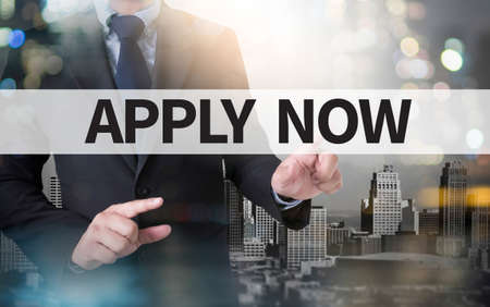 Apply Now and businessman working with modern technology