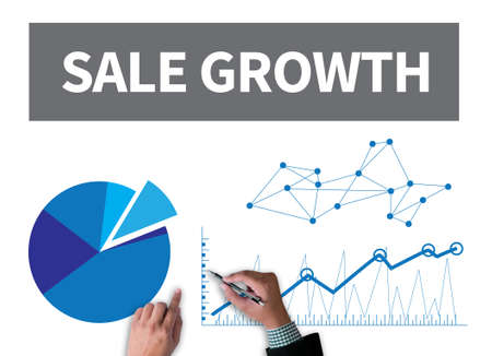 SALE GROWTH businessman work on white broad, top view
