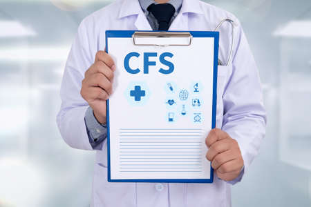 CFS  (Consolidated Financial Statement) Portrait of a doctor writing a prescription