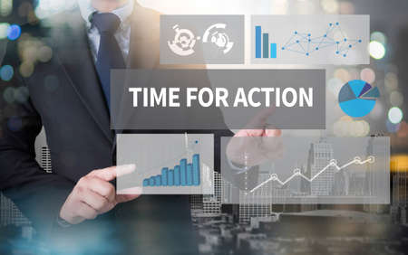TIME FOR ACTION and businessman working with modern technology