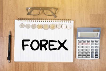FOREX    Banking Stock Market Finance Online  Top view of office desktop copy space, laptop computer work