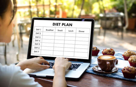 Photo for DIET PLAN healthy eating, dieting, slimming and weigh loss concept - Royalty Free Image
