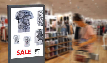 Photo pour digital display Intelligent Digital moniter Interactive artificial intelligence digital advertisement Signage - image libre de droit