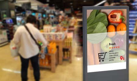 Foto de digital display Intelligent Digital moniter Interactive artificial intelligence digital advertisement Signage - Imagen libre de derechos