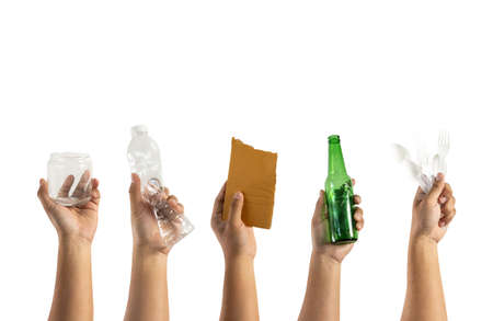 Photo for recycle  different types of garbage Ecology concept holding garbage bottle plastic and glass to types of garbage - Royalty Free Image