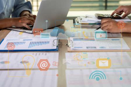 Foto de Financial report data of business technology digital Business Analytics Key Performance - Imagen libre de derechos