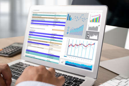 Photo pour Work hard Data Analytics Statistics Information Business Technology SWOT Business analyzing financial - image libre de droit