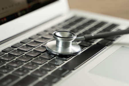 Photo pour health vulnerability Inscription Safety Medical equipment stethoscope Medical Data Breach - image libre de droit