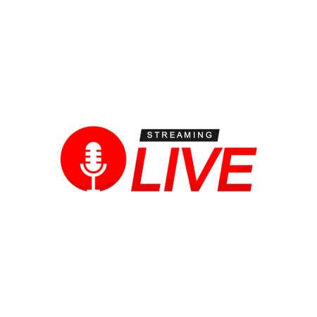 Illustration pour Live Streaming Logo With Microphone Symbol - image libre de droit