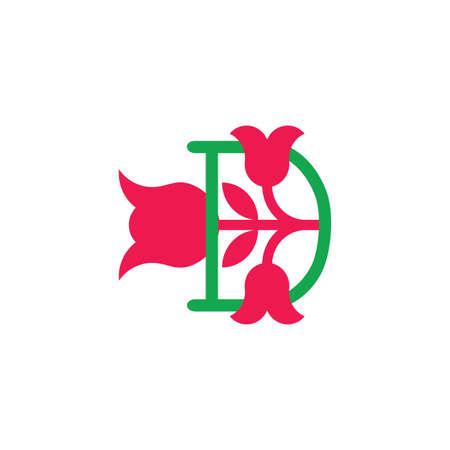 Illustration for letter d flower beauty symbol decoration logo vector - Royalty Free Image