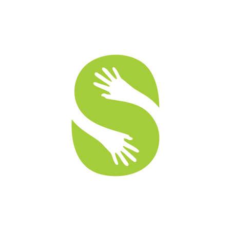 Illustration pour letter s green leaf hand care logo vector - image libre de droit
