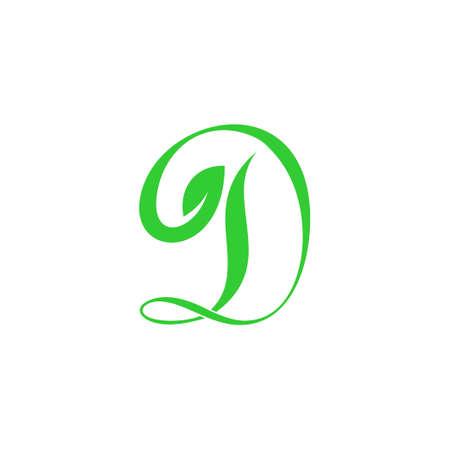 Illustration for letter d curves flow green plant leaf symbol logo vector - Royalty Free Image