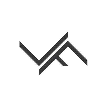 letter lf simple line geometric logo vector