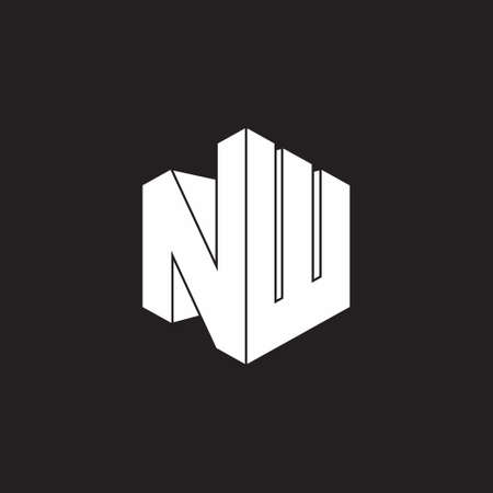 letter nw simple geometric 3d flat design logo vector