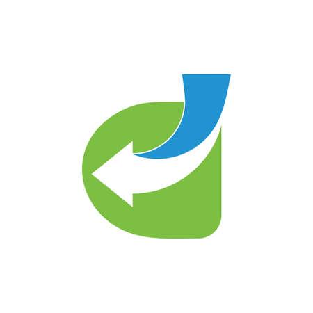 Ilustración de letter d arrow negative space logo vector - Imagen libre de derechos