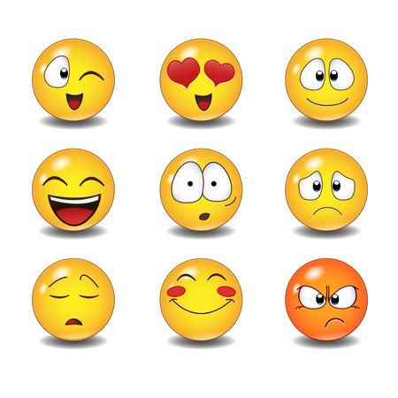 Illustration for Set of Emoticons. Set of Emoji. Isolated illustration on white background - Royalty Free Image