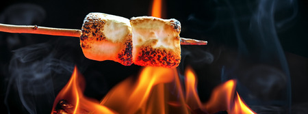 Two marshmallows roasting over fire flames. Sized to fit popular social media horizontal banner