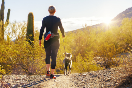 Photo for Unidentifiable woman walking a dog on a hiking path in Mountain View Park in Phoenix, Arizona - Royalty Free Image