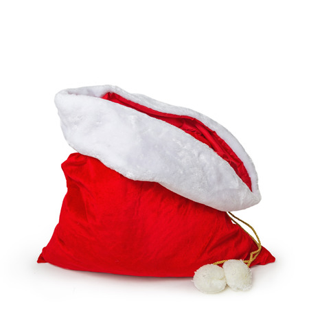 Photo pour Empty Santa's gift bag isolated on white with room to add products or text - image libre de droit
