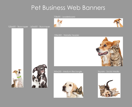 Foto de Set of various size web banners with cats and dogs for pet business advertising - Imagen libre de derechos