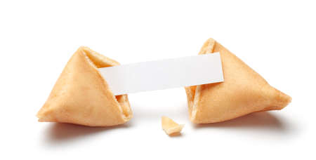 Photo pour Chinese fortune cookies. Cookies with empty blank inside for prediction words. Isolated on white background - image libre de droit