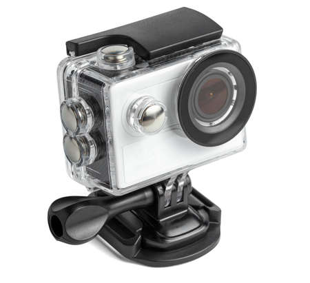 Photo pour Action camera in a waterproof box isolated on white background. - image libre de droit