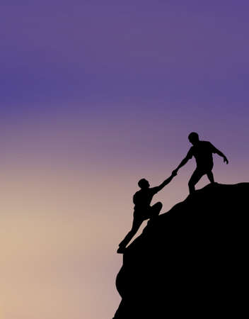 Photo for Hikers climbing on rock, giving hand and helping to climb - Royalty Free Image