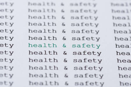 The phrase health  safety highlighted in green amongst similar black text