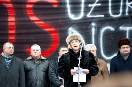 Maia Martinenco (profesor) speaks in front of the protesters in Chisinau (Moldova) during the protest against the current administration.The people have come from different parts of the country at the initiative of Iurie Rosca, the leader of Popular C
