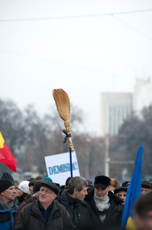 Rised clean sweep by protesters during current protests agains the administration of Moldova