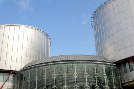 European Court of Human Rights (Palais des Droits de l'Homme) distinctive shape in Strasbourg, Bas Rhin, France. The building, which evokes the balance of Justice, was designed by British architect Richard Rogers and inaugurated in 1995. Useful file for y