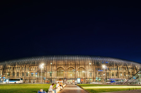 STRASBOURG, FRANCE - 30 JUNE 2010: Large view of Place de la Gare with Gare de Strasbourg - or Strasbourg at dusk. It is the eastern terminus of the Paris–Strasbourg railway.